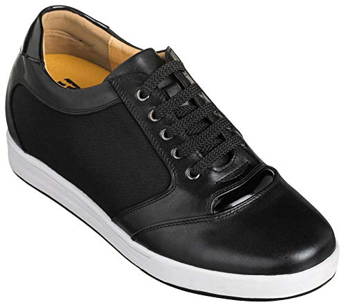 f788397d9e5 Toto Men's Invisible Height Increasing Elevator Shoes - Black Leather/Mesh  Lace-up Casual