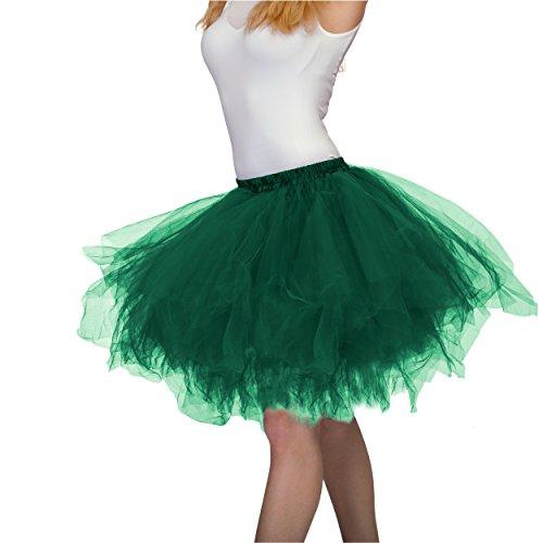 Dancina Green Tutu Adult Vintage Petticoat Tulle Skirt for Women [XXL] Plus Size 12-24 DarkGreen