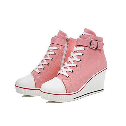 Para Sneakers blanco Top Canvas Casual 37 Comfort Botines Primavera rosa Ladies rojo Mujer otoño 35 color Rosado Tamaño Negro Large Size High Zapatos 43 De Y8q78p