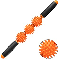 Hippih Muscle Roller Massage for Relief Muscle Soreness, Trigger Point Body Massage Stick, Pressure Point Massager Tools,Help Legs/Back/arms/Shoulders/Thigh Recovery Orange