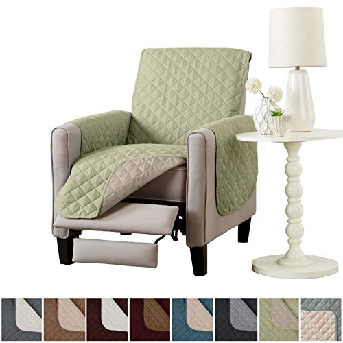 Home Fashion Designs Deluxe Reversible Quilted Furniture Protector. Perfect for Families with Pets and Kids. (Recliner, Tea Green) ()
