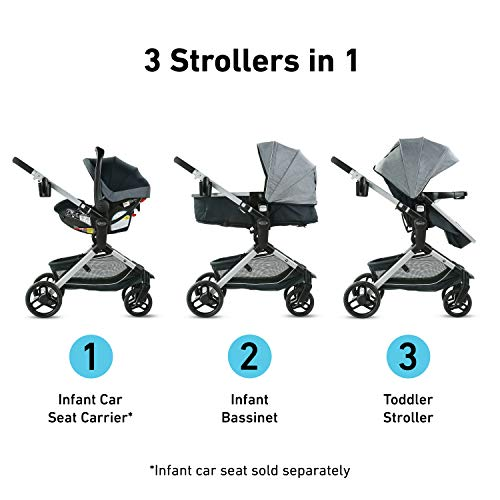 Graco Modes Nest Stroller | Baby Stroller with Height Adjustable Reversible Seat, Bassinet Mode, Extra Large Storage, Self Standing Fold and Lightweight Aluminum Frame, Spencer