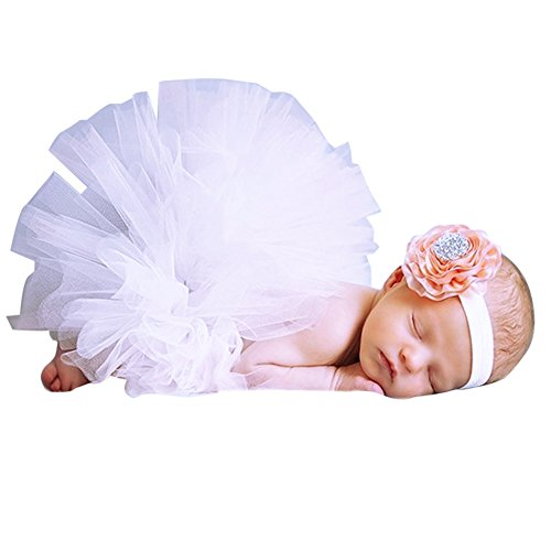 Everpert Baby Fantasias Recem Nascido Flower Headband and Tulle Tutu Photo(White)