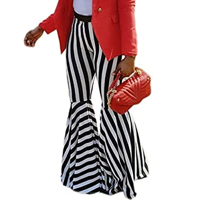GUOLEZEEV Women Striped Flared Pants Elastic High Waisted Stretchy Bodycon Bell Bottoms at  Women's Clothing store
