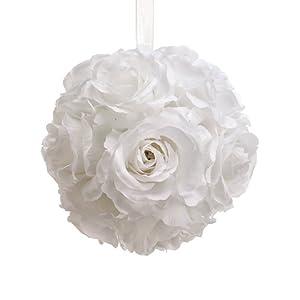 6″ Rose Kissing Ball White (Pack of 6)