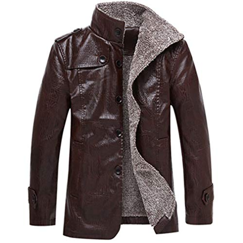- Oudahood Winter Men's Leather Jackets Collar Long Coats Coffee XL