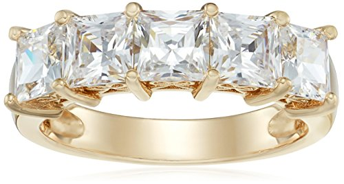 terling Silver Princess-Cut 5-Stone Ring made with Swarovski Zirconia (3 cttw), Size 6 ()