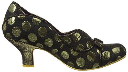 Scarpa Da Donna Poetic Hold Up Party Polka Dot Scarpe Basse Tacco Nero / Oro