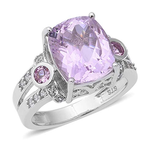 Promise Ring 925 Sterling Silver Platinum Plated Kunzite Pink Sapphire Jewelry for Women Size 10 Ct 6.3 ()