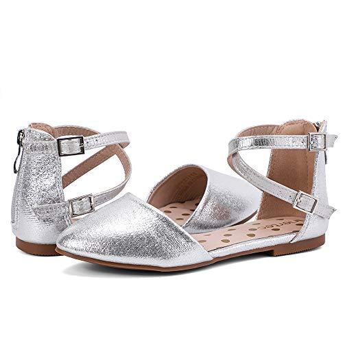 nerteo Girl's Pretty Glitter Ballet Flats Ankle Strap Dress Shoes Sandals (Toddler/Little Kid/Big Kid) Sliver 13 M US Little Kid (Metallic Leather Flats Ballet)