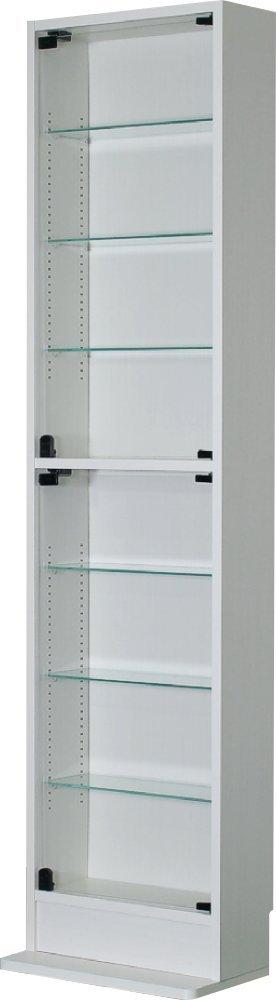 ハイタイプ ガラス開き戸 コレクションケース幅45cm奥行き19cm高さ180cm(ホワイト) B01LY5K2F0