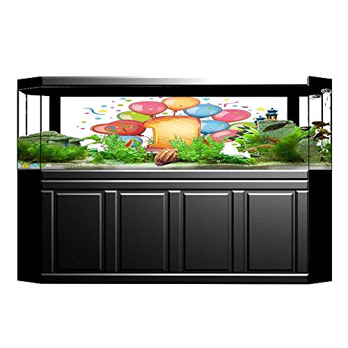 UHOO2018 Background Fish Tank Decorations Decorations Vintage Theme Kids First Party with Balloons Stars and Dots Image Multicolor PVC Paper Cling Decals Sticker 35.4