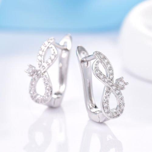 Fill Gold Earrings Leverback - Gozebra(TM) Womens Shiny Bling Topaz Crystal White Gold Filled Stud Leverback Earrings Gift