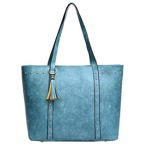- Memela Bag, Women's Vintage Style Soft Leather Work Tote Large Shoulder Bag Tote Bag Large Handbag (Blue)