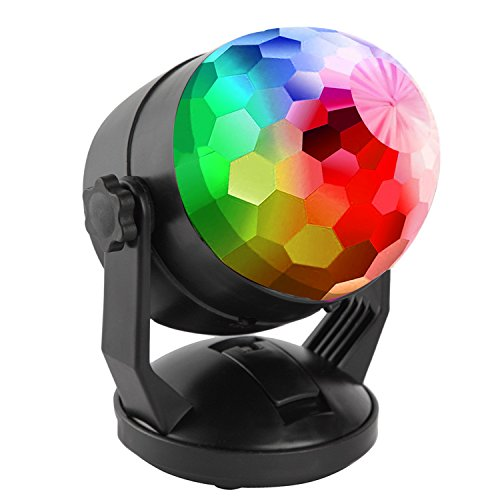 Portable Sound Activated Party Lights for Outdoor and Indoor, Battery Powered/USB Plug in, Dj Lighting, RBG Disco Ball, Strobe Lamp Stage Par Light for Car Room Dance Parties Birthday DJ Bar Club Pub