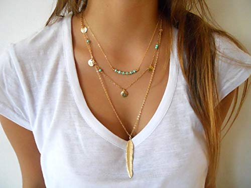 (Women's Simple Chain | Multilayer Necklace Feather Pendant | Sequins Tassel Necklace)
