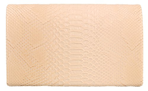 Skin HandBags Snake Folded Nude Clutch Girly Bag wzdEx4qR0n