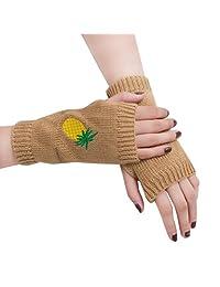 Women Girl Knitted Arm Fingerless Warm Winter Gloves Soft Warm Mitten by XILALU