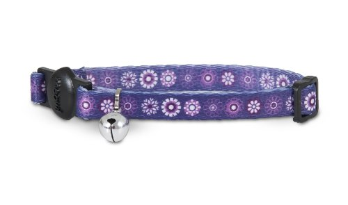 [Aspen Pet 11412 Cat Collar for Pets, 3/8 by 8 to 12-Inch, Flowers Purple] (Aspen Pet Cat Collar)