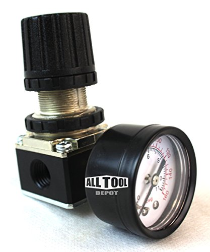 1/4'' MINI REGULATOR W/ GAUGE FOR COMPRESSOR COMPRESSED AIR PRESSURE by ALL Tool Depot
