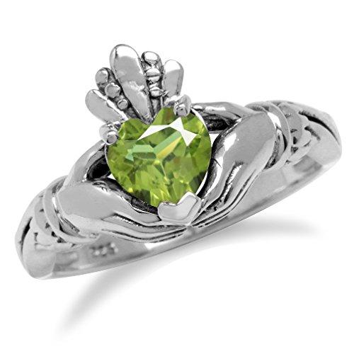 Natural Heart Shape Peridot Irish Claddagh 925 Sterling Silver Ring Size 5