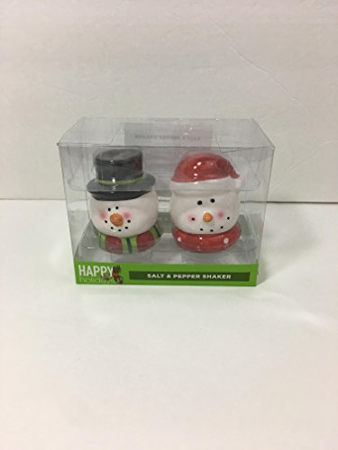 Happy Holiday Snowman Salt and Pepper Shaker Set ()