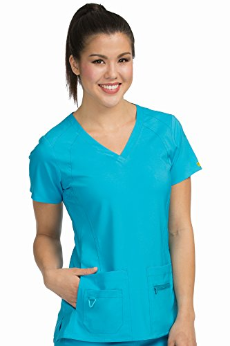 Med Couture Activate Women's V-Neck Racerback Scrub Top, Sky Blue, Large