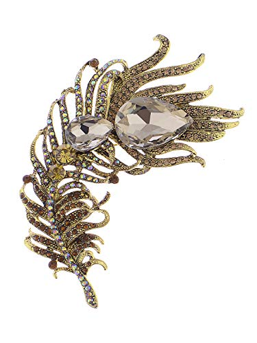 Alilang Antique Inspired Indian Golden Tone Shine Red Topaz Rainbow Rhinestones Peacock Feather Brooch ()