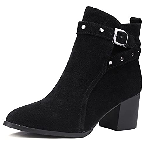 a7facae965a durable service Summerwhisper Women s Sexy Faux Suede Studded Rivets Buckle  Strap Pointed Toe Booties Block Mid