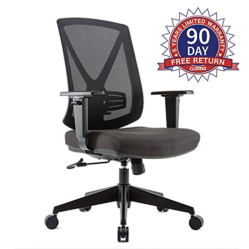 CLATINA Ergonomic High Mesh Swivel Desk Chair with Adjustable Height Arm Rest Lumbar Support and Upholstered Back for Home Office (Best Office Chair With Adjustable Lumbar Support)