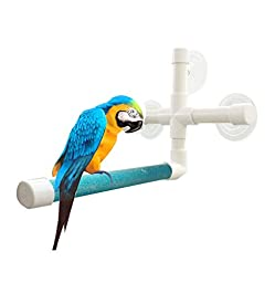 UPGRADE Protable Bird Shower Stand with Suction Cup, Non-slip Bath Perch Toys for Parrot Macaw African Greys Budgies Cockatoo Parakeet Cockatiel Conure Lovebirds