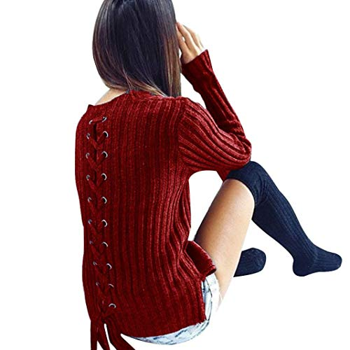 Women Sweater Pullover Crew Neck Lace Up Knitted Tops Criss Cross Slim Fit Romper by Bookear