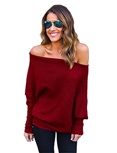 Chunky Knit Jumper (Women's Autumn Sexy Off Shoulder Batwing Sleeve Loose Pullover Sweater Knit Jumper ( M, Wine Red ))