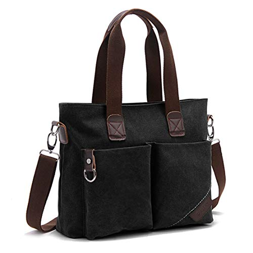 ToLFE Women Top Handle Satchel Handbags Tote Purse Shoulder Bag (Black)