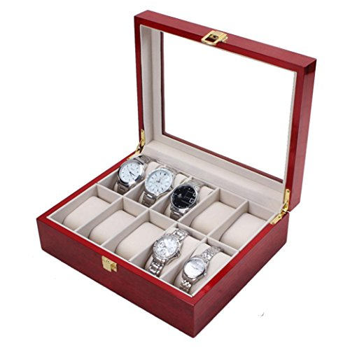 Hunputa 10 Slots Cherry Wood Watch Display Case Glass Top Jewelry Storage Box Gifts (Red) - Wood Transparent Watch