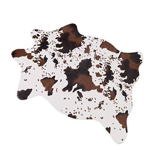 Seek4comfortable 3.6Wx2.5L Feet Cow Print Rug Faux Cowhide Skin Rug Animal Printed Area Rug Carpet for Bedroom,Home Office, Livingroom]()