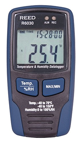REED Instruments R6030 Temperature and Humidity Datalogger, -40 to 158F (-40 to 70C), 0-100% RH
