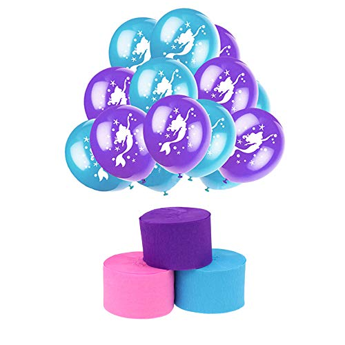 Extpro Mermaid Party Decorations Set with 12 Rolls Crepe Paper Streamers and 24Pcs Mermaid Latex Balloons