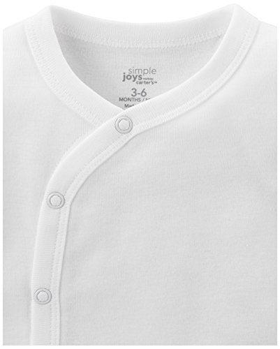 Simple Joys by Carter's Unisex Baby 5-Pack Side-Snap Long-Sleeve Shirt, White, 0-3 Months