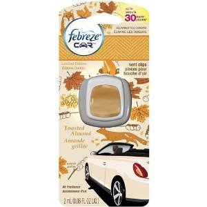 Almond Car (ONLY 1 IN PACK Febreze Car Vent Clip Air Freshener, Toasted Almond, 1 Count)