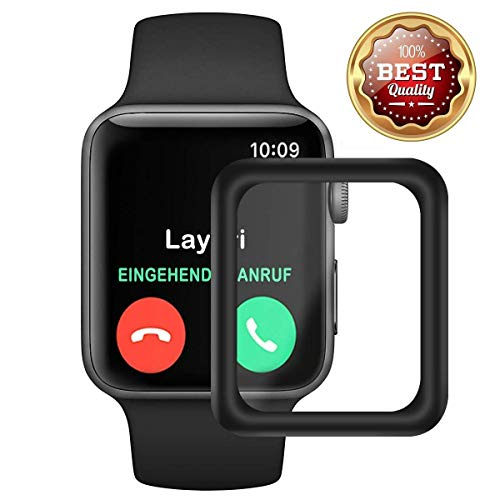 Protective Film for Apple Watch 38mm/42mm Waterproof Bulletproof Glass 3D Full Cover with Sport Edition Nike + (42mm, Black) ()