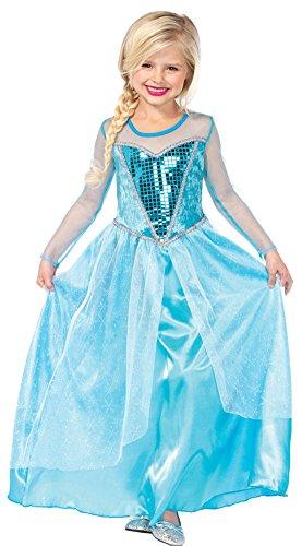 [Girls Halloween Costume- Fantasy Snow Queen Kids Costume Large 10-12] (Child Fantasy Snow Queen Costumes)