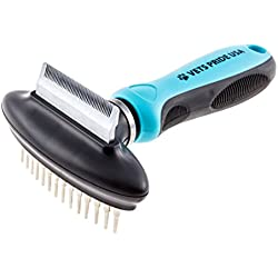 2-in-1 Deshedding Comb and Undercoat Rake. Best Pet Grooming Tool/Brush for Dogs & Cats. Stainless Steel Blade and Rake for Durability, Ergonomic Handle for Comfort. Flexible Neck Contours to Pet.
