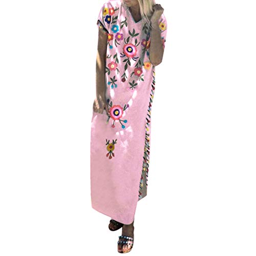 Women's Summer Floral Dresses Sleeveless V- Neck Casual Long Maxi Dress ♛HebeTop♛ Pink