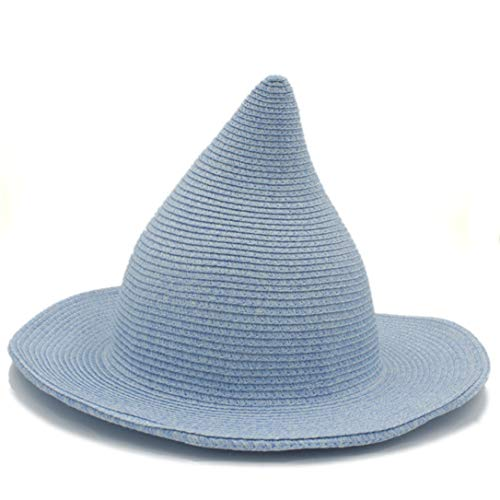 Top Hat Child Gandalf Witch Wizard Party Carnival Halloween Braided Rope Ribbon Carnival Straw Hat Sun Cap Blue -
