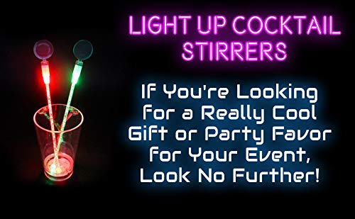 Lumistick LED Light Up Circle Topper Cocktail Stirrers - Glowing Light Straws Favors Night Club Parties Liquid Plastic Swizzle Drink Stick (Assorted, 25 Pack) by Lumistick (Image #5)