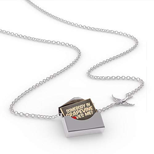 NEONBLOND Locket Necklace Somebody in Grapevine Loves me, Texas in a Silver Envelope