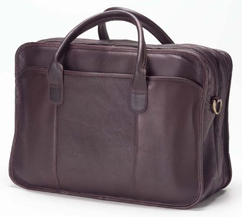 "Clava Vachetta Legal Leather 15"" Laptop Briefcase, Computer Bag in Cafe"