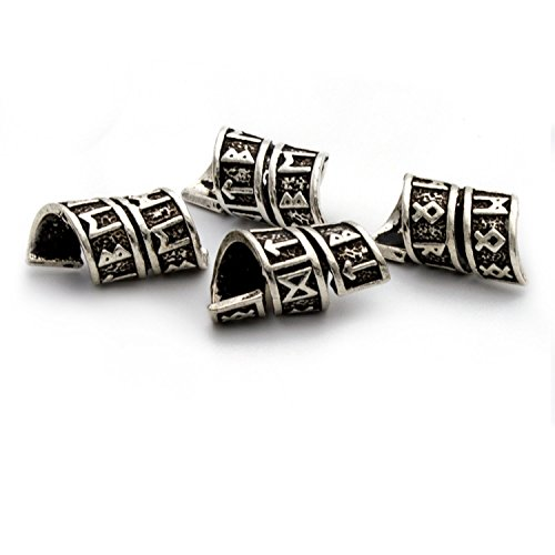 Price comparison product image Viking Rune Beard Bead Coil Set (4) - Norse Rings for Hair,  Dreads & Beards