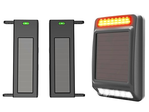 HTZSAFE Solar Wireless Driveway Alarm-190 Feet Wide Sensor Range 1/4 Mile Long Range,Outdoor Weatherproof Sensor & Receiver No Wiring No Need Replace Battery,Perimeter Alarm System Driveway Alert Kit